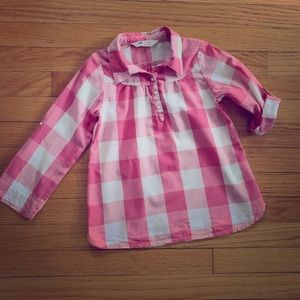 H&M 4-5yrs pink, white, silver buffalo check tunic
